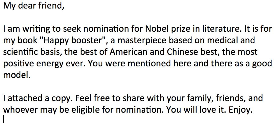 Who is with me? We need to nominate her this author for a Nobel prize! Retweet if you got this spam too.