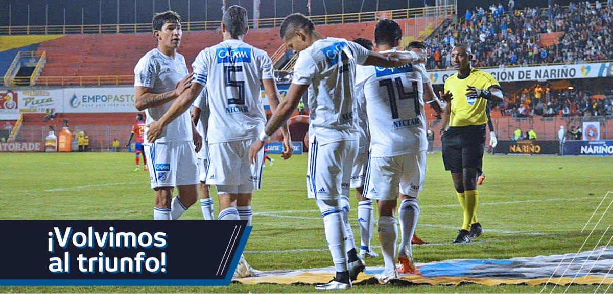 ¡Volvimos al triunfo! Después de 11 años ganamos de nuevo en el estadio Libertad de Pasto. ⚽️🏟🔵⚪️ ¡Vamos Millonarios! ¡#UnidosNadaNosDetiene! #MFC