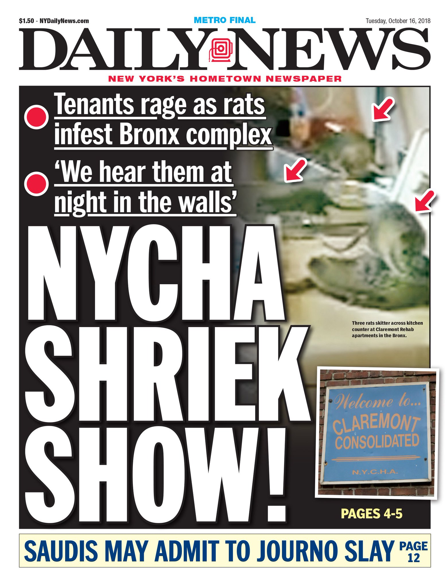 Rats invade Bronx housing complex. https://t.co/cK0T40ofLZ  An early look at Tuesday's front page. https://t.co/c36lht2hrX