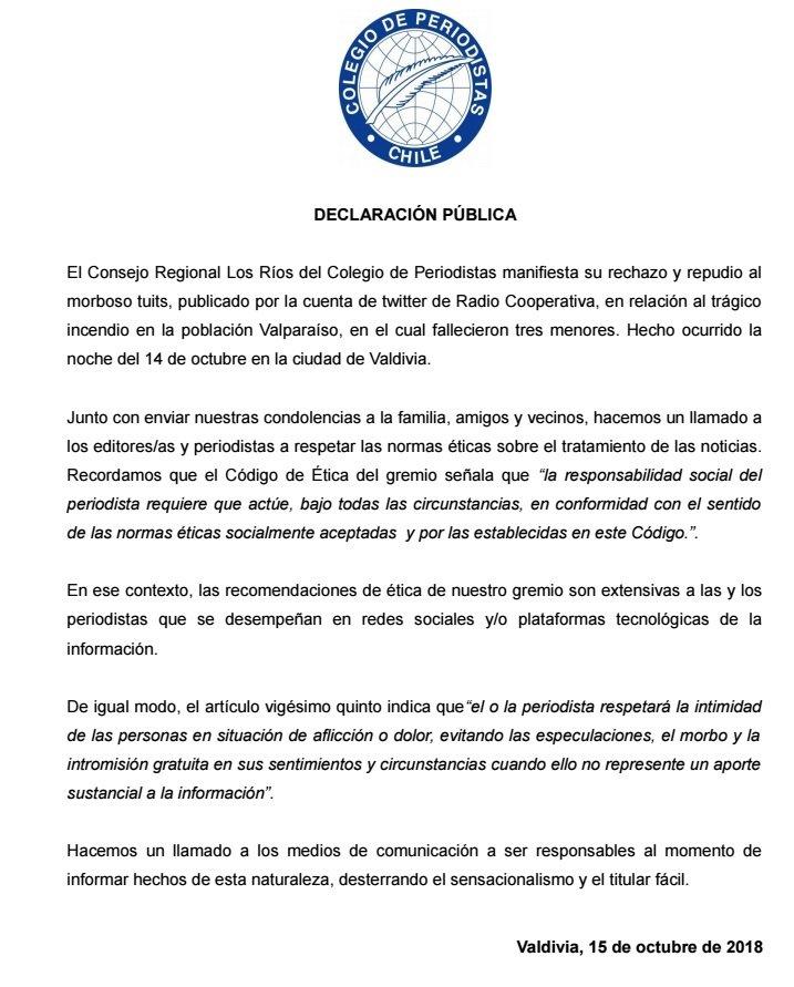 Colegio de Periodistas Los Ríos rechaza y repudia morboso de tuits de @Cooperativa, en relación al trágico incendio en la población Valparaíso, en el cual fallecieron tres menores #valdiviacl @ChilePeriodista @JV_ValpValdivia