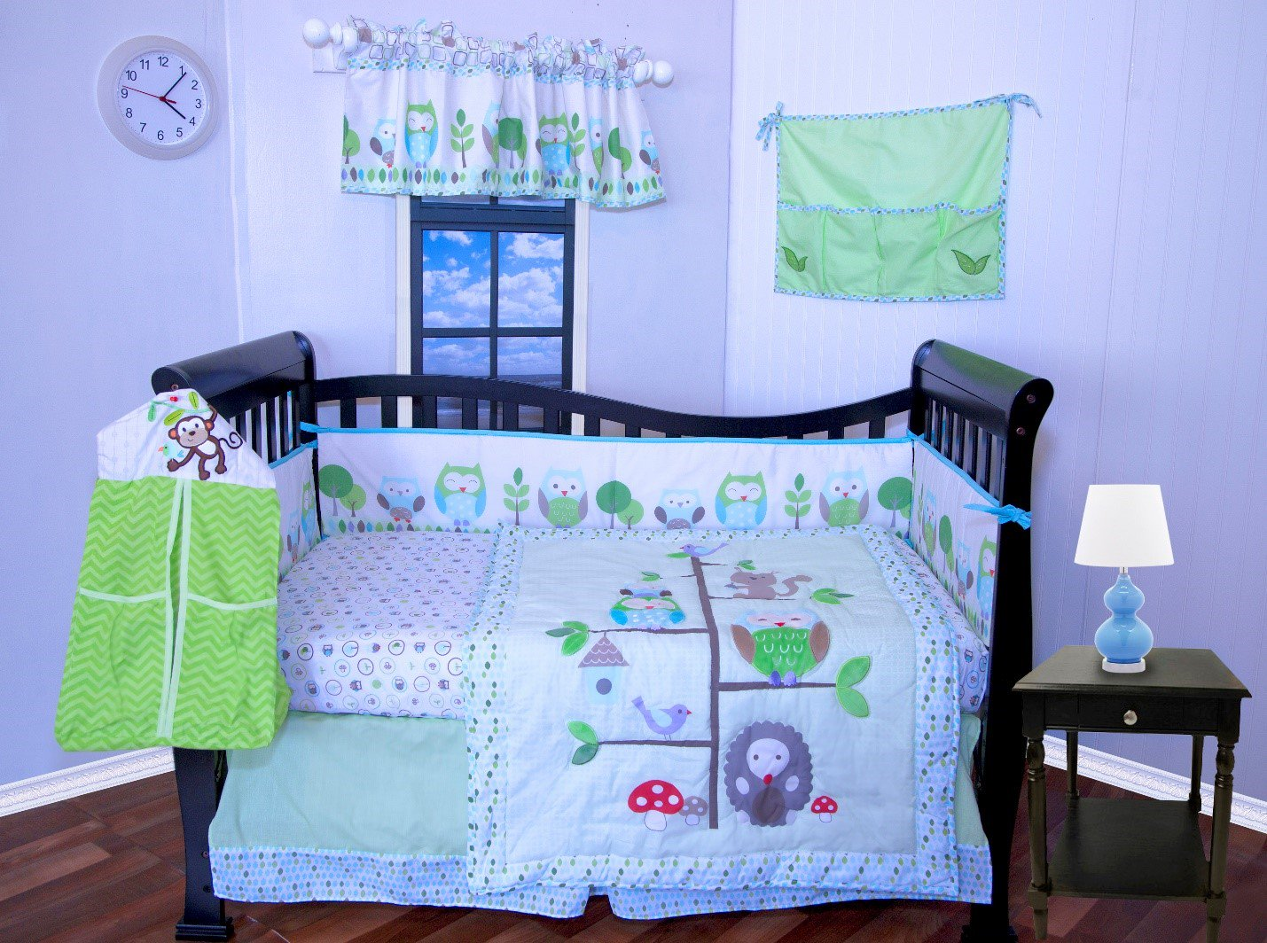 Details About 9 Pieces Baby Boy Crib Bedding Set Owls Green Purple Per Included New