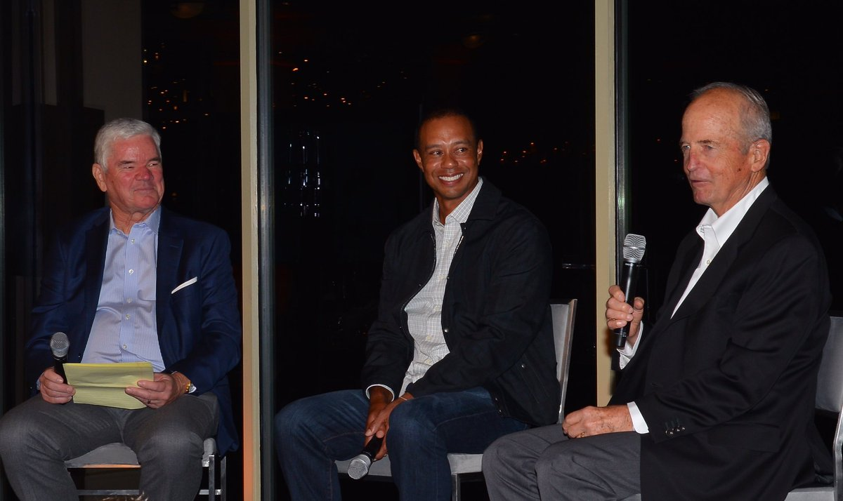 I am pleased to share the stage with two friends and @TGRFound board members to talk golf and philanthropy at the #TWInvitational dinner.