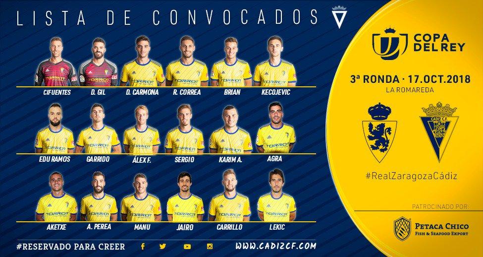 Convocatoria del Cádiz para jugar contra el Real Zaragoza (Foto: CCF).