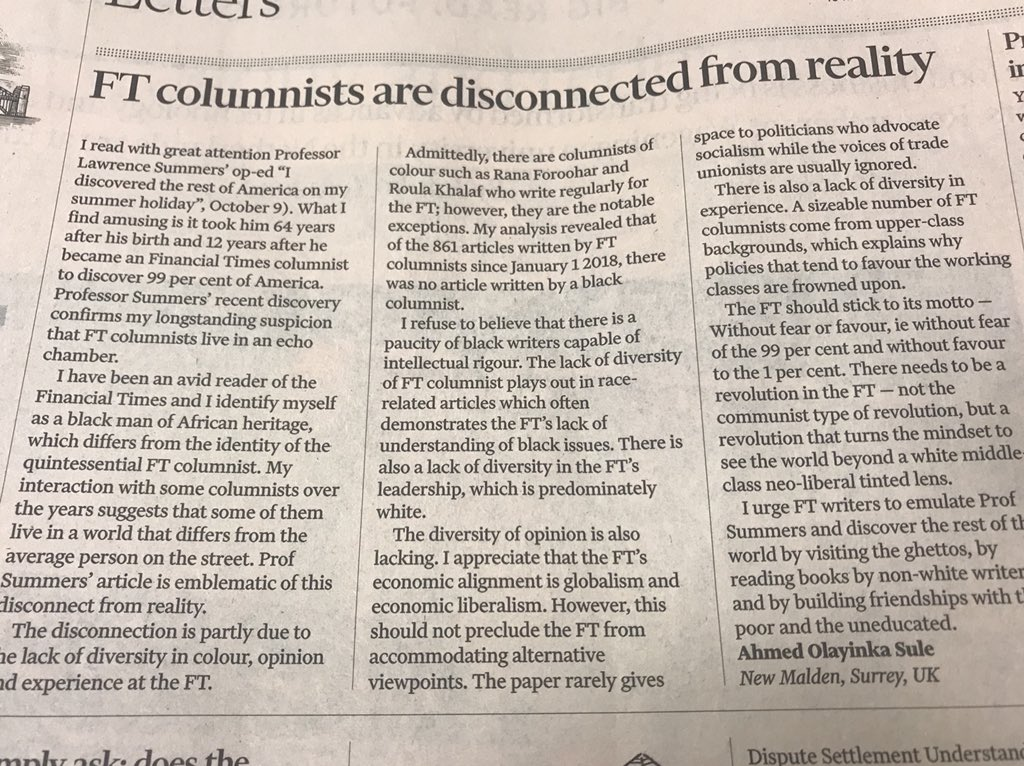 Ouch - Letter of the day: Time for a revolution at the FT!