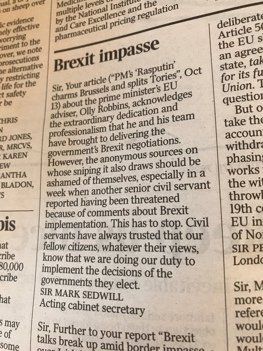 The most powerful civil servant in the UK is saying that if you don't like the government's Brexit policy, stop blaming civil servants - blame @theresa_may and her ministers. Whether deliberate or not, this is incendiary.