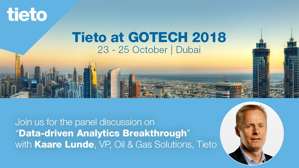 "How can Oil & Gas companies leverage key technology trends and historical data to reshape their operating landscapes?Meet Kaare Lunde at the Gas & Oil Technology Conference (<a href=""https://twitter.com/hashtag/GOTECH2018?src=hash"" target=""_blank"">#GOTECH2018</a>), Sheikh Maktoum Hall, Dubai World Trade Center on Oct 25th, 11:15 am <a href=""https://t.co/OF6uy0zInW"" target=""_blank"">gotech2018.com</a> https://t.co/bjiny61iwW"