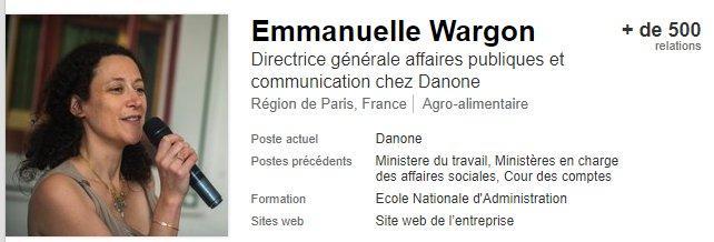 Emmanuelle Wargon, nommée 'secrétaire d'Etat auprès du ministre d'Etat, ministre de la transition écologique et solidaire', travaille précédemment chez Danone.