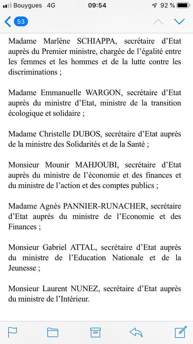 Voici la liste du nouveau gouvernement @EPhilippePM #Remaniement