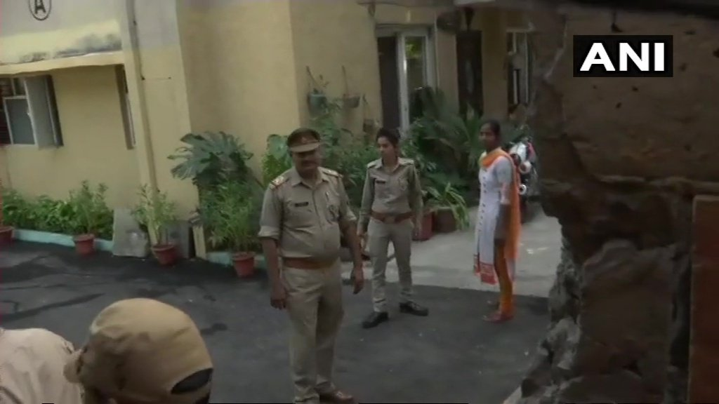 Lucknow police arrives at the residence of Ashish Pandey, who was seen brandishing a gun outside a 5-star hotel in Delhi on October 14. He is the son of former BSP lawmaker Rakesh Pandey (ANI)