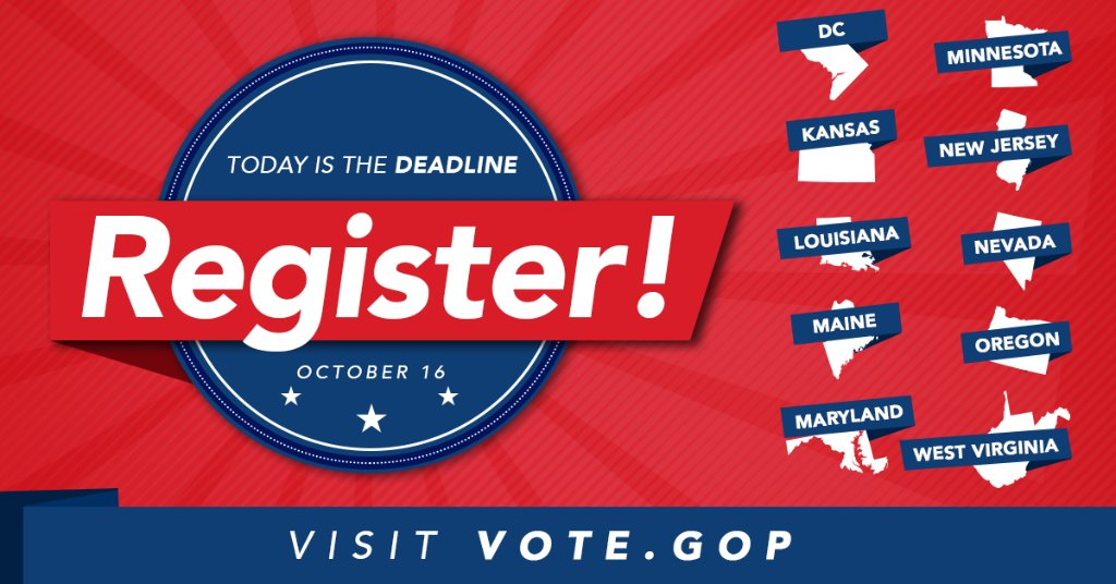 TODAY is the LAST day to register to vote in: ➡️DC  ➡️KS ➡️LA ➡️ME ➡️MD ➡️MN ➡️NJ ➡️NV ➡️OR ➡️WV Register today ➡️ https://t.co/wSmeXTFI2U