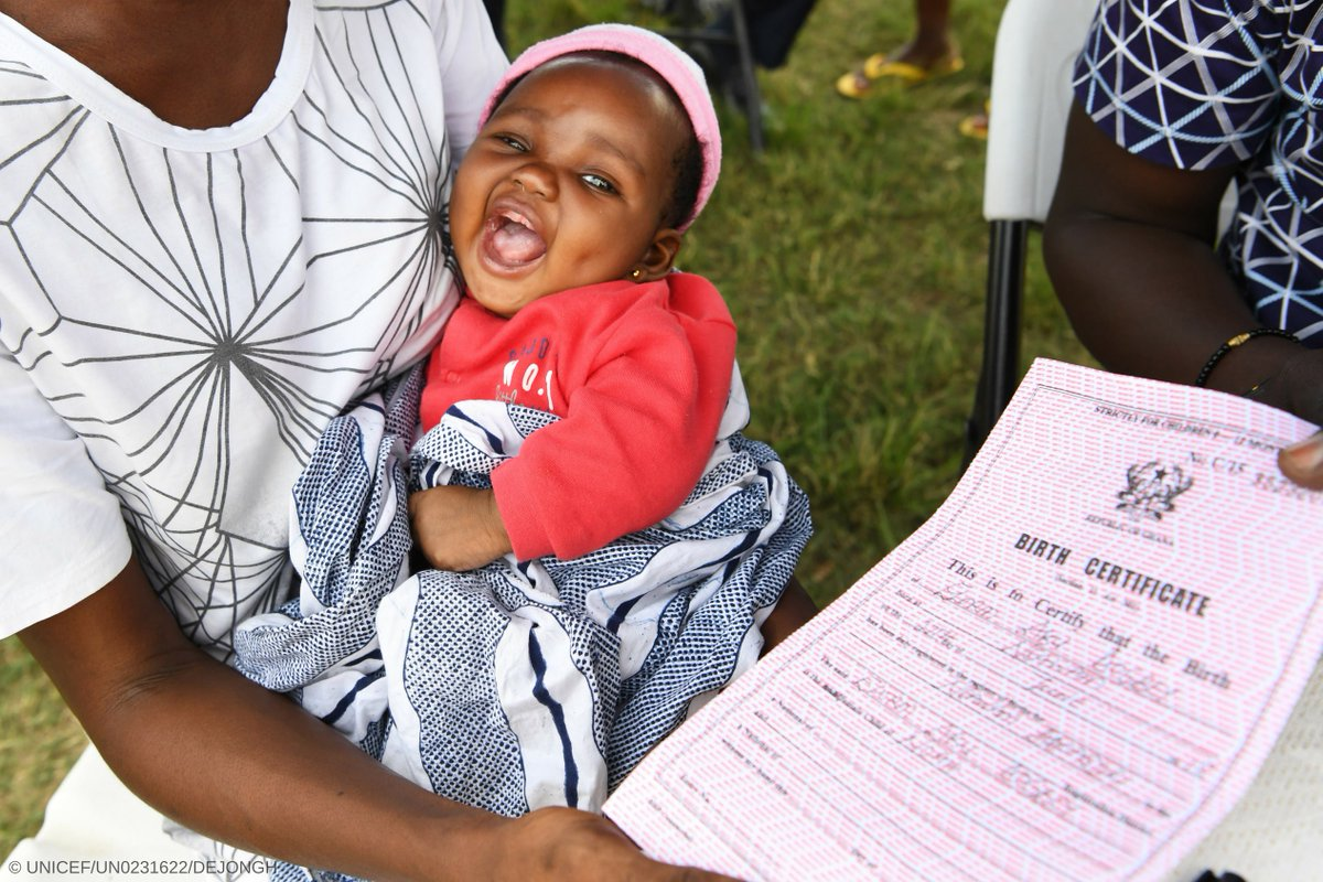 2-month-old Elrom seems to be very happy with her birth certificate in #Ghana. #ForEveryChild, rights.