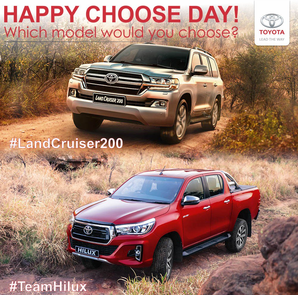 Happy Choose Day. If you could drive a #Toyota for the day, which of these 2 model would you choose? The #LandCruiser200 or #TeamHilux Visit our website for more inspiration. #halfwaytoyotapic.twitter.com/Xc4o5y98eH