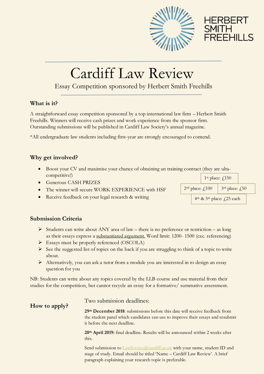 Cardiff Law Society Culawsoc  Twitter  Replies  Retweets  Likes Example Essay Thesis Statement also Examples Of An Essay Paper  Business Plan Writers In Michigan