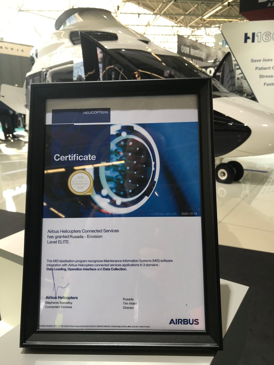 "We are delighted to be the only IT vendor to be awarded ""Elite Status"" as part of the @AirbusHeli Maintenance Information System (MIS) Software Integration Program. https://t.co/OqmXwHShil"