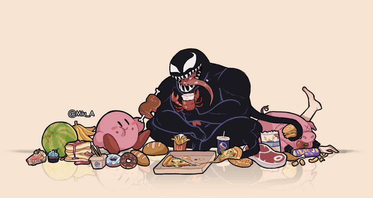 Eating with your friends #kirby & #Venom