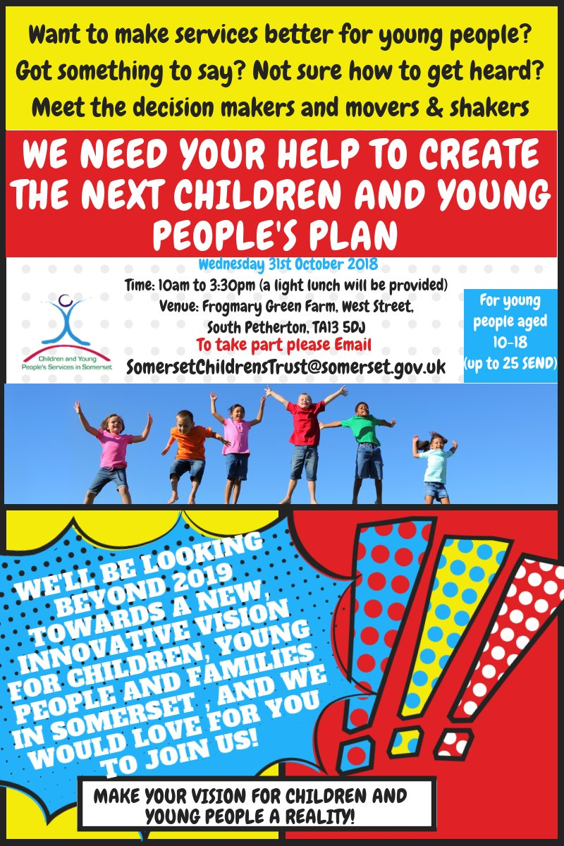 Does your organisation support children and young people? Would  they like to have a say on the Children and Young People's Plan for  #Somerset? Email somersetchildrenstrust@somerset.gov.uk to book a space. <br>http://pic.twitter.com/edc5G8Todg