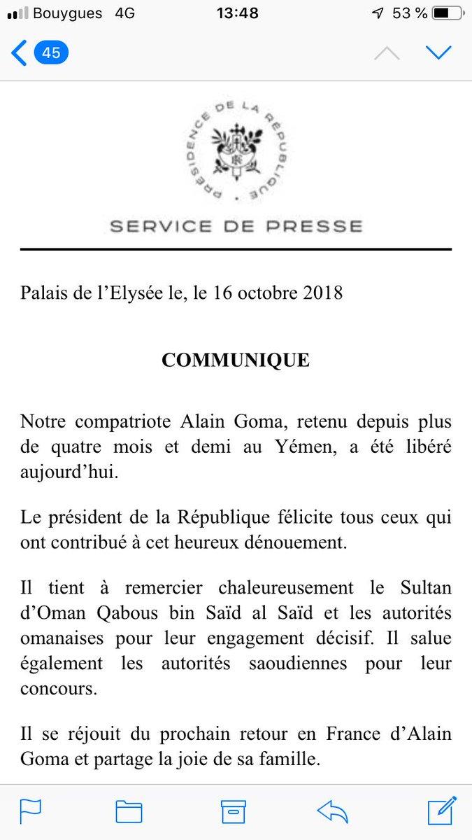 Un #remaniment, une #perquisition chez @JLMelenchon et la libération de l'otage français Alain #Goma en quelques heures : storytelling élyséen de poids #ComPol