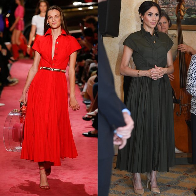 Brandon Maxwell is swiftly becoming one of Meghan Markle's favourite designers. On this occasion she wore a forest-green look from the Spring 2019 collection, again with Princess Diana's jewelry https://t.co/NHqnlsNlOJ