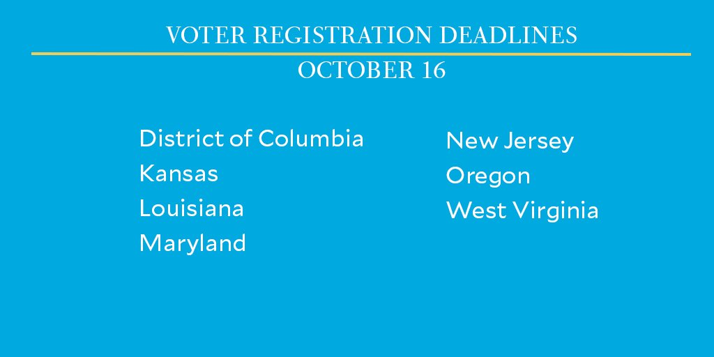 There are final voter registration deadlines today in six states and the District of Columbia.   Make sure you've checked your registration—then recruit a friend to do the same so they don't miss their chance to vote in this crucial election: https://t.co/tTgeqxNqYm