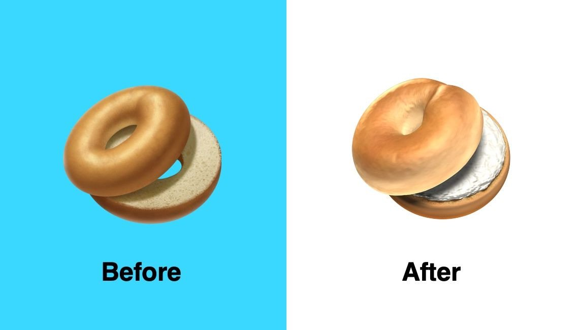 """*Phew!* Apple has added cream cheese to its bagel emoji coming in iOS 12.1 after some found the original """"too plain…"""" (📸 via @Emojipedia)"""