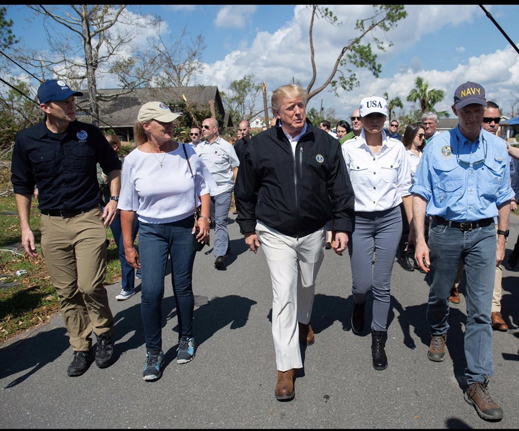 .@POTUS @realDonaldTrump has approved every single request made to federal government by us & by . Th@FLGovScottank you for supporting  aft#Floridaer the devastation caused by . An#HurricaneMichaeld thank you &  for vis@FLOTUSiting yesterday to see it first hand. #Sayfie