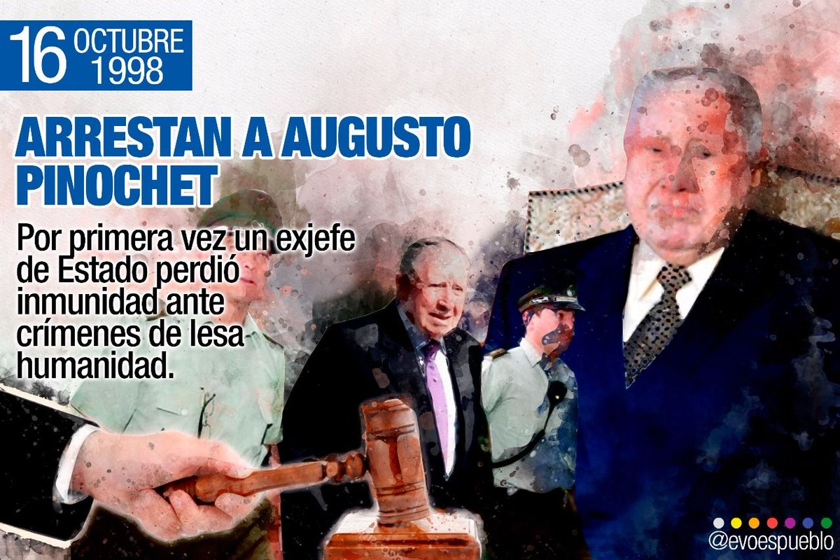 Evo Morales Ayma A Twitter On A Day Like Today 1998 Dictator Augusto Pinochet Was Arrested In London Indicted For Human Rights Violations In His Cia Backed Government The Order Issued By Judge Baltasar