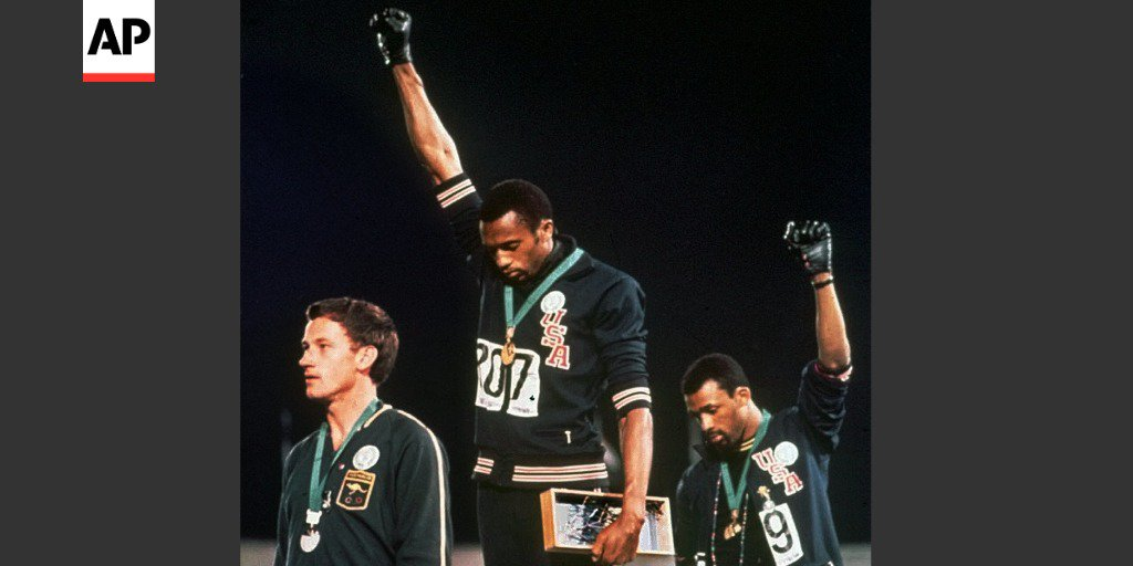 In 1968, sprinters Tommie Smith and John Carlos raised their black-gloved fists on the medals stand at Mexico City.  50 years later: Who would listen, who would care?  A #MemoriesOf1968 analysis from @epells: https://t.co/ax49xk5GK5