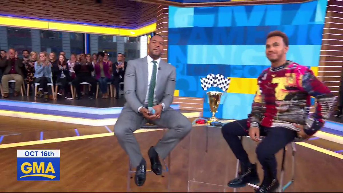 ".@LewisHamilton may be a racing LEGEND, but even the 4-time @Formula1 World Champion admits to @michaelstrahan takes a village to get a win. ""There's 1,800 people on my team to build our cars."" gma.abc/2K1ffov"