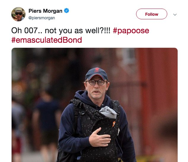 Ahead in #HotTopics: Piers Morgan is facing criticism for mocking a photo of James Bond actor Daniel Craig carrying his child —Morgan described Craig as 'emasculated.' Your reaction? Tweet us.