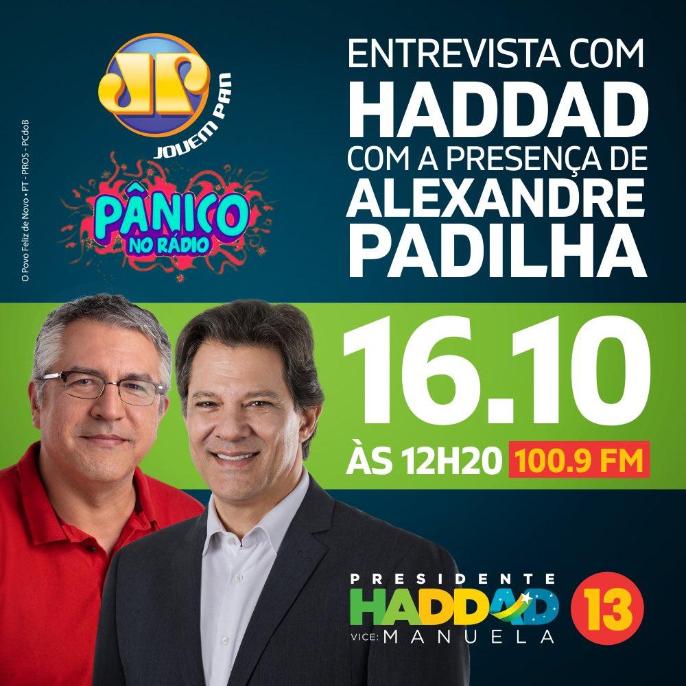 Bom dia, povo de luta! Hoje, 12:30, tem entrevista no pânico na rádio com @Haddad_Fernando. Acompanhem pela 100,9 FM. Com a minha participação.