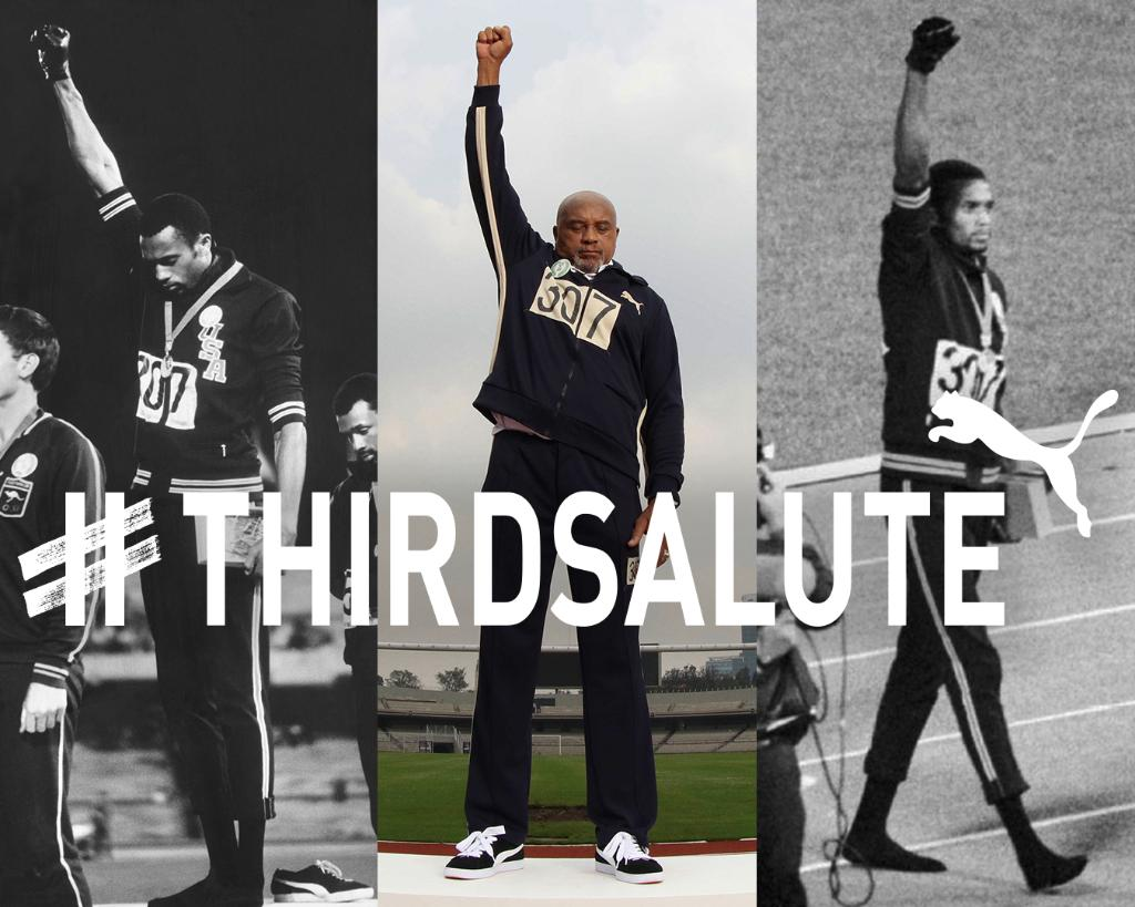 50 years ago today, Tommie Smith raised his fist for equal rights. PUMA stands with him fighting for universal equality. Raise your fist and post a photo. For every fist raised and photo shared, PUMA will donate $1 (up to 100,000 USD) to @ACLU. #REFORM #THIRDSALUTE