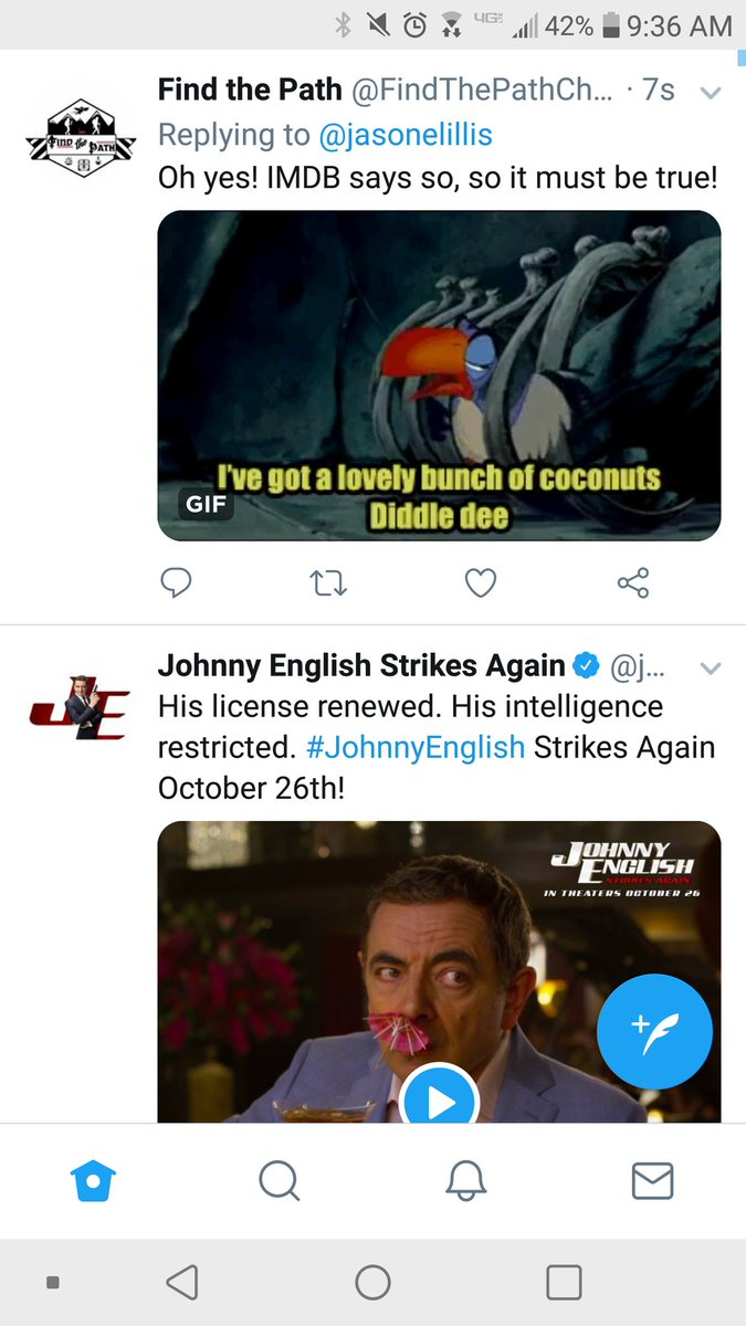 I would like to point out the serendipity of posting about Zazu being Rowan Atkinson, then suddenly seeing his face in and advert for Johnny English directly below it! Wow Twitter, you have crazy advertising skills!  #rowanatkinson <br>http://pic.twitter.com/GIYHatj3MW