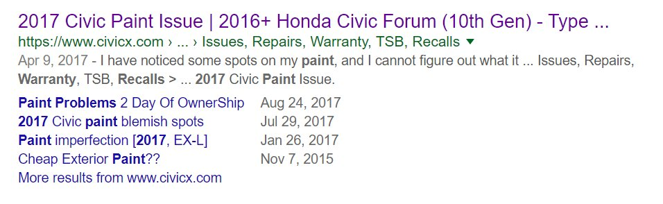 test Twitter Media - #myshittyhonda #Honda  #hondaquality #hondapaint #hondausa  here is my paint failure on honda.  well known 20 year old issue that honda won't solve.  here are latest 2014-2017 complaints showing that they continue to fail, they know it and do not care about the consumer.  #fraud https://t.co/MDKUurEgdS