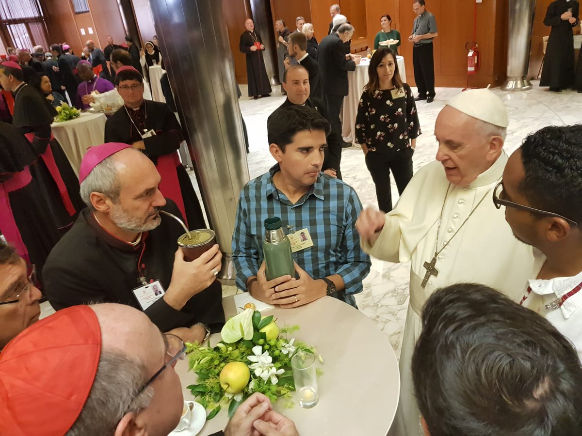 #PopeFrancis spends time on Tuesday with young participants in the #Synod2018 of Bishops.