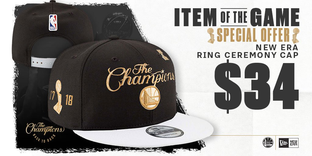 Check out Our Opening Night Item of the Game!!! @warriors Back to Back 🏆🏆#NBAChampions Ring Ceremony Cap from @NewEraCap! A #SpecialOffer you dont want to miss 🔥🔥🔥 🛒-–>bit.ly/TRBCap #WarriorsGround #OpeningNight #GSW #itemofthegame #DubNation