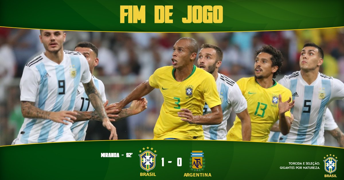 ACABOOOU! O Brasil vence a @Argentina com gol salvador de @miranda023 no finalzinho! #GigantesPorNatureza  🇧🇷 1-0 🇦🇷   #BRAxARG
