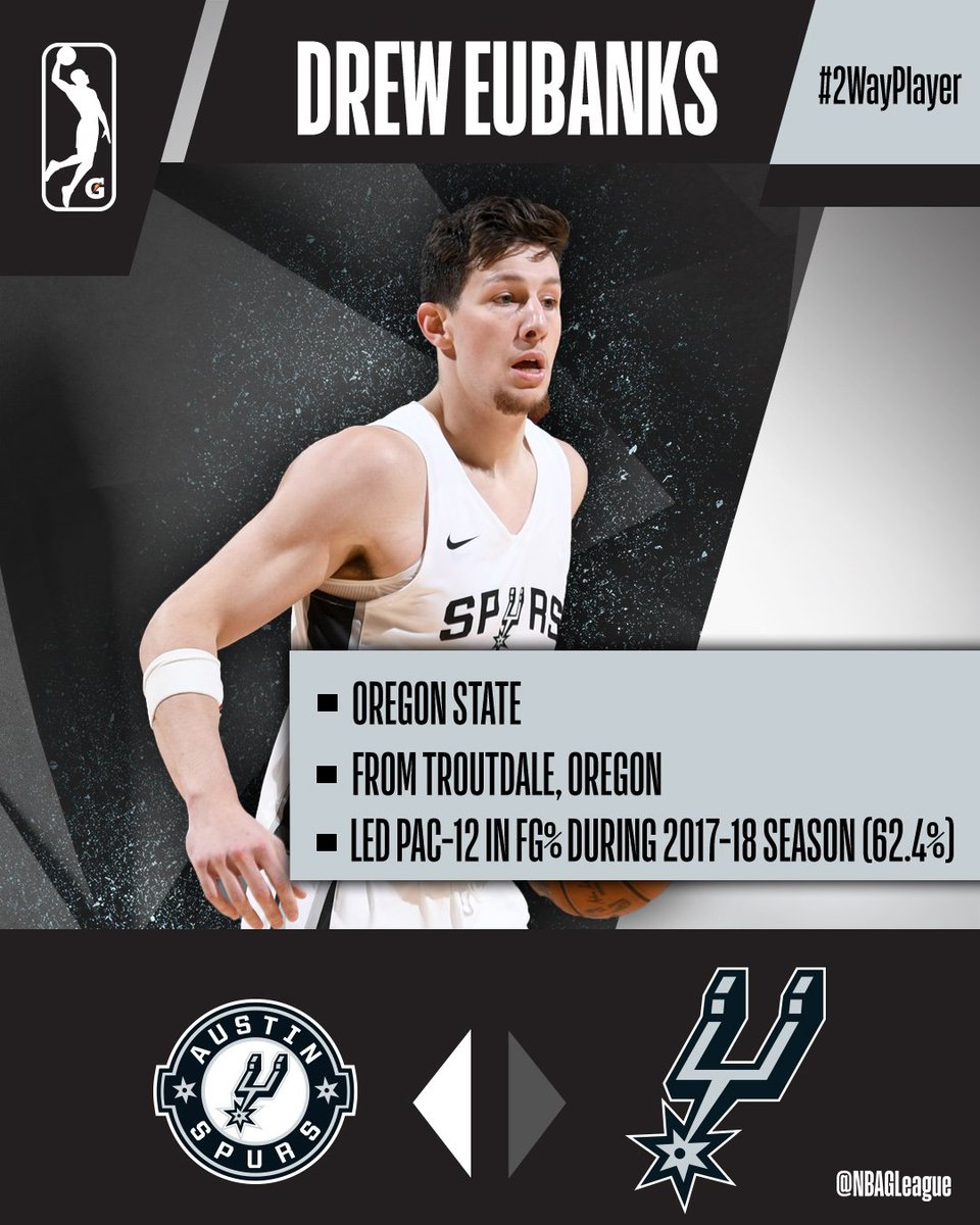 👏 Led @Pac12 in FG% (62.4%) during 2017-18 season 😮 Only player in @BeaverMBB history with 1,000+ points, 625+ rebounds and 150+ blocked shots. Meet @austin_spurs/@spurs #2WayPlayer @DrewEubanks12! @BeaverMBB ↗️ @austin_spurs ↔️ @spurs