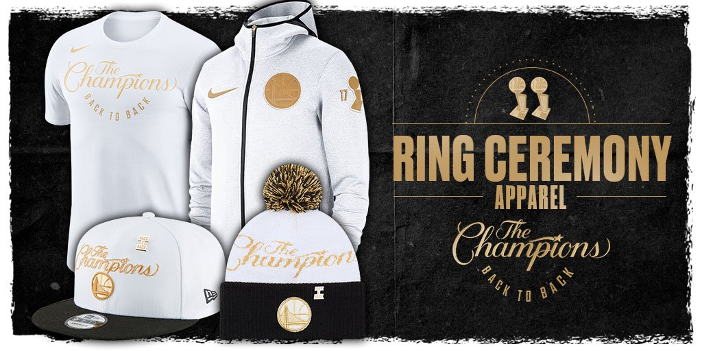 #DubNation, Dont miss out on your @warriors Back to Back #NBAChampions Ring Ceremony Apparel 🏆🏆 Available Now! 🛒-–>bit.ly/DUBSTRB #OpeningNight #Trophy #Ceremony #NBA #warriors #champs #nike #NewEra pic.twitter.com/ahoPxKbZca
