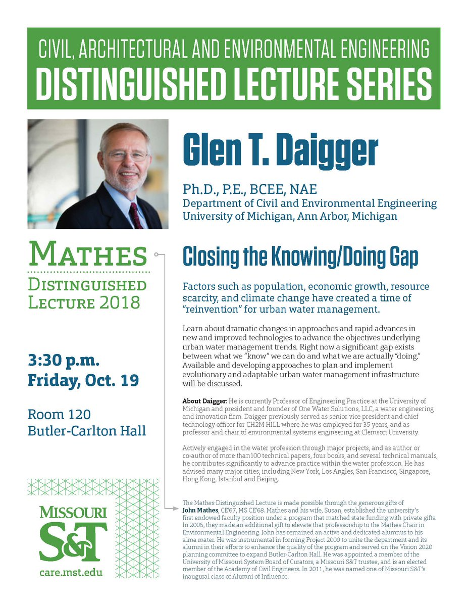 MSPE's Rolla Chapter is having Glen T. Daigger, Ph.D., P.E., BCEE, NAE to  speak at Missouri S&T in Butler-Carlton Hall, Room 120 this Friday, October  19!