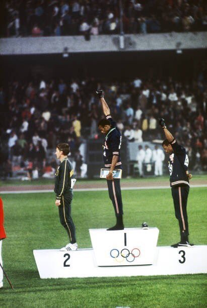Oct. 16 1968 John Carlos and Tommie Smith 50 years ago raise their fist during the National Anthem after taking 1st and 3rd place at the Summer Olympics in Mexico City! The fight for equality continues thank you for paving the way fellas! #BlackExcellence