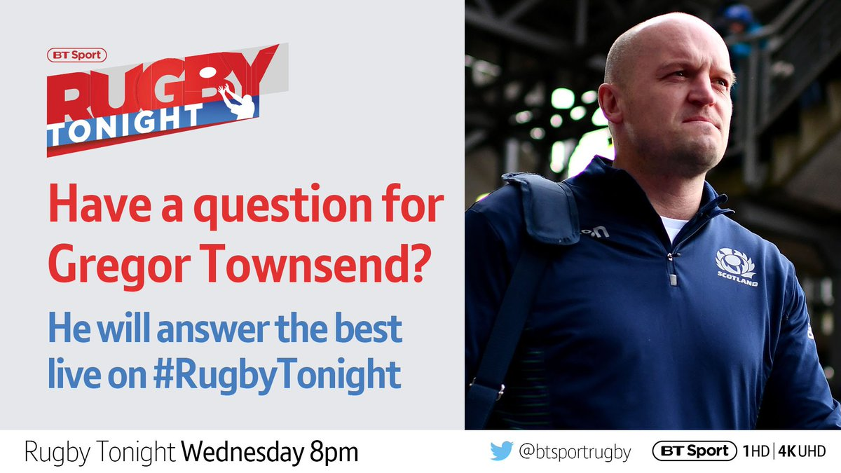 test Twitter Media - Got a question for Scotland head coach Gregor Townsend?  Playing days 🏉 The Lions 🦁 Coaching 🗣  Send them in and he'll answer your best on tomorrow's #RugbyTonight... https://t.co/oT9Yl0TEFX