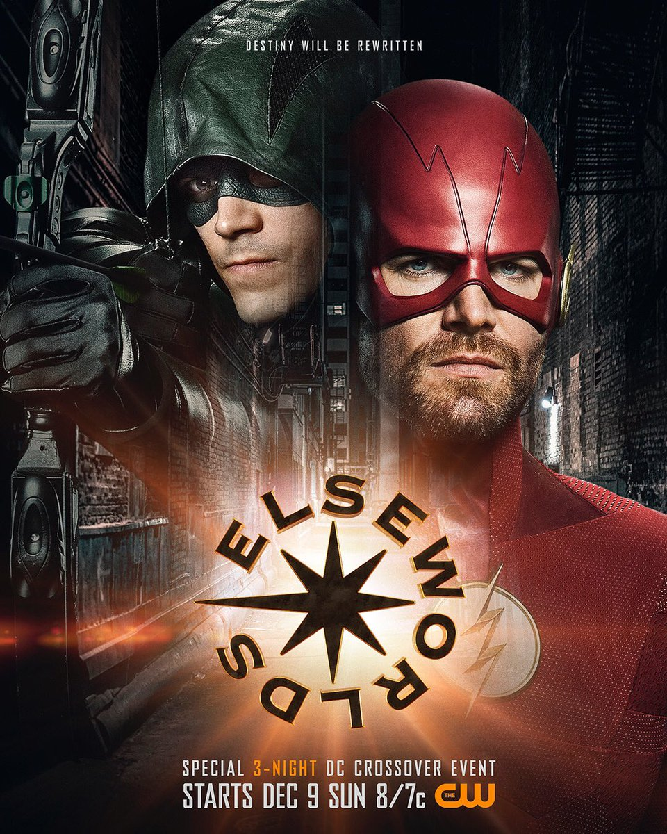 #Arrow and #TheFlash switch roles in the first poster for the Arrowverse crossover event #Elseworlds