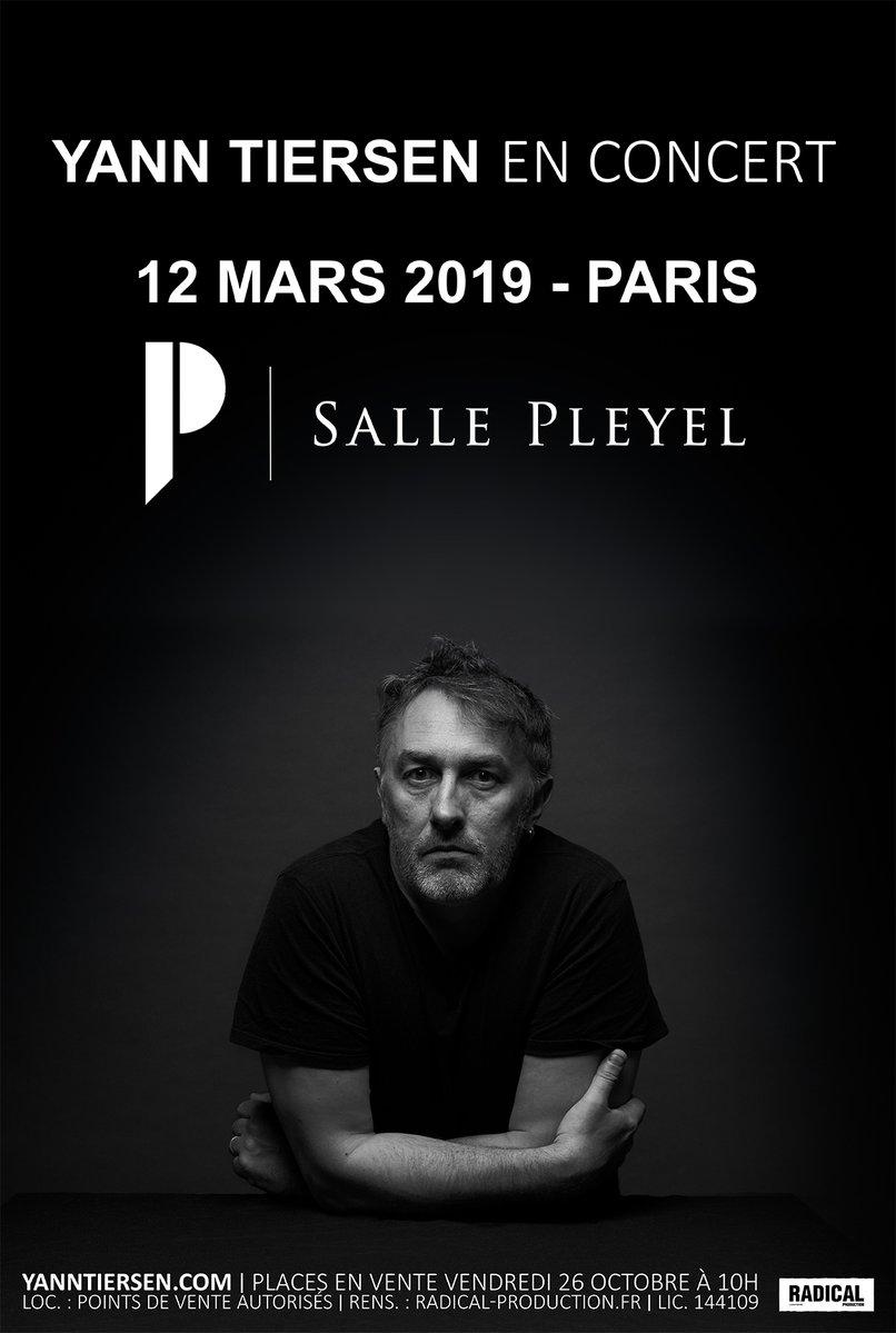 [ YANN TIERSEN EN CONCERT ] Mardi 12 mars 2019 - @sallepleyel  @yanntiersen sera en concert unique et donc exceptionnel #sallepleyel  [ OUVERTURE DES VENTES ] Vendredi 26 octobre à 11H ici >> ht