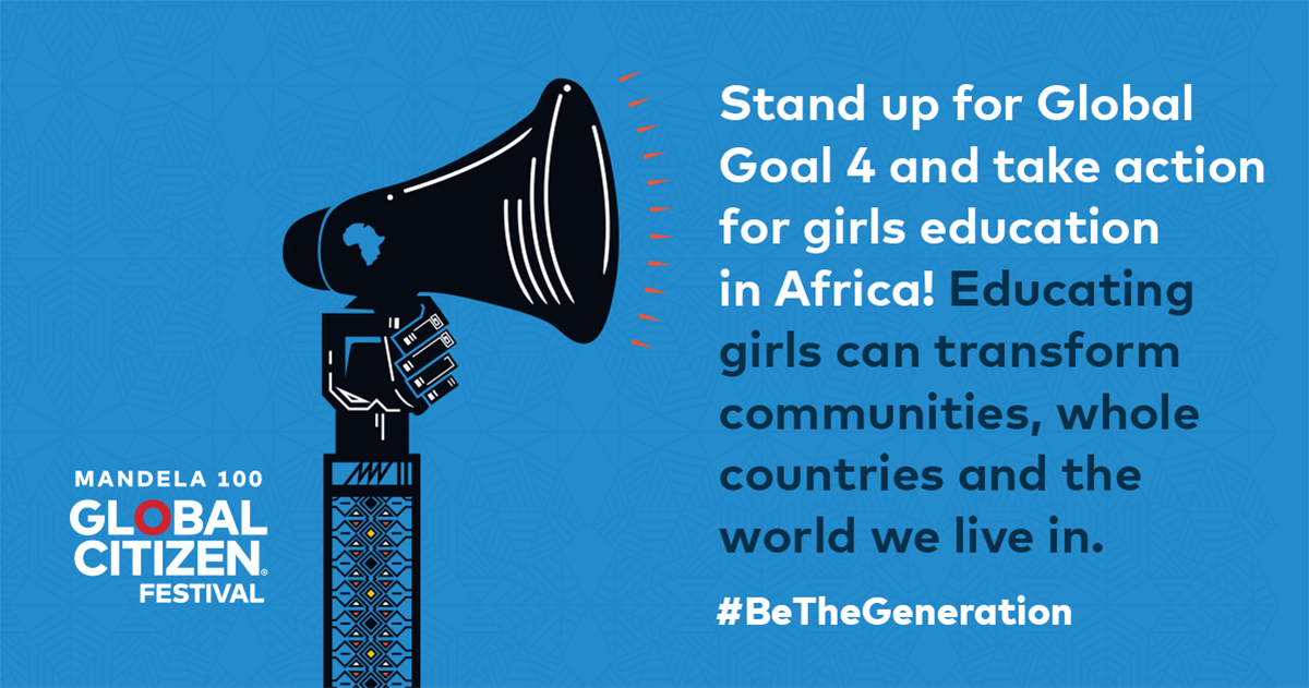 """.@NelsonMandela said, """"Education is the most powerful weapon which you can use to change the world"""". Join the movement by calling on leaders to increase national spending on #education. 📣❤️ #GlobalCitizen #GlobalCitizenFestivalSA #BeTheGeneration #Mandela100"""