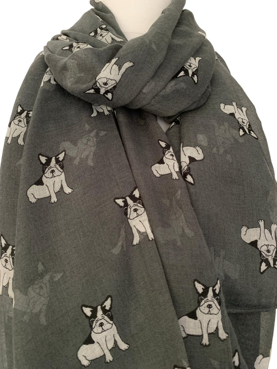 French Bulldog Scarf Purple Dog Print French Bulldogs Dogs Frenchie Frenchies