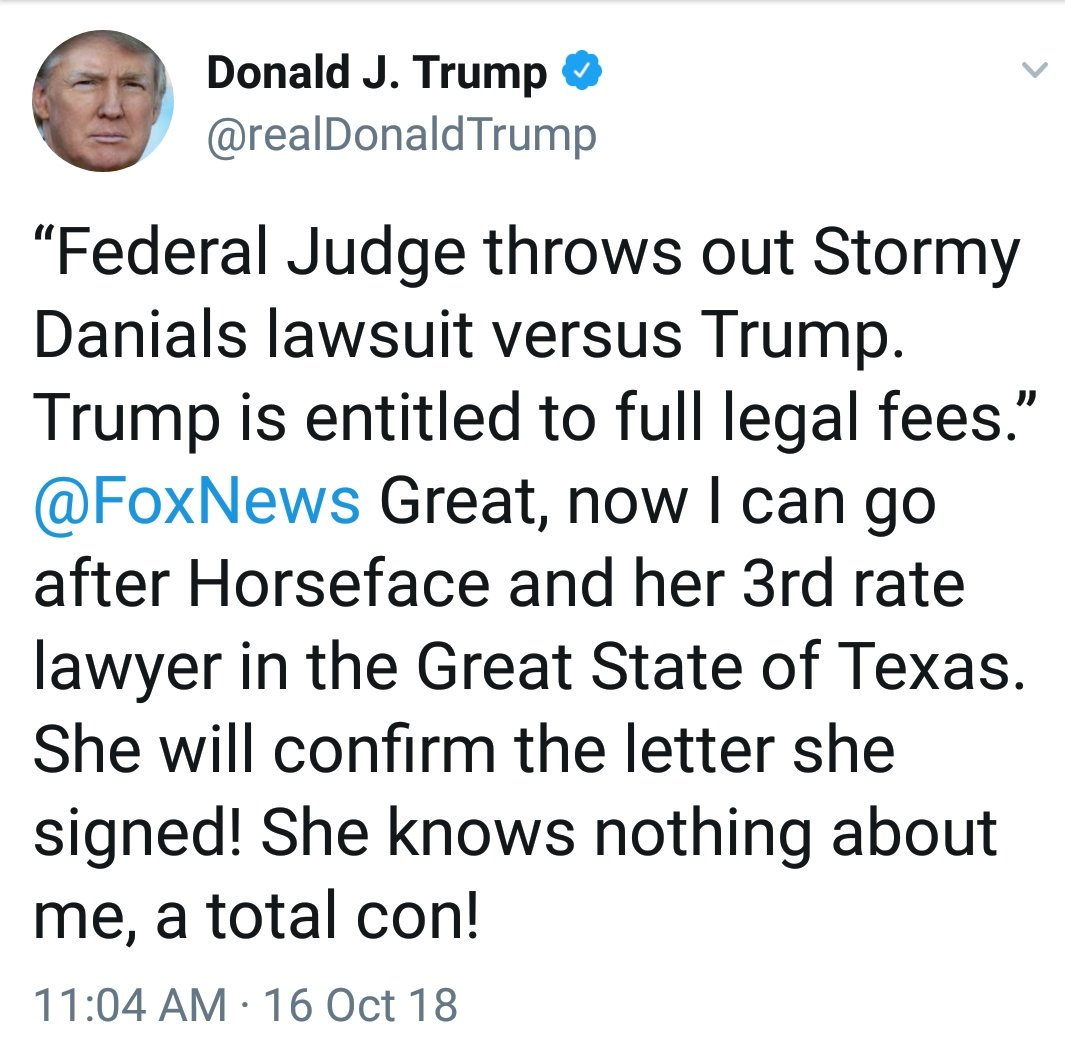 Mere days after Melania complained that she&#39;s the &quot;most bullied person in the world,&quot; her Oval Office idiot husband called Stormy Daniels #horseface.  Make your November 6 vote a REJECTION of this kind of discourse, and send lil&#39; #toadstooltrump a loud and clear message.<br>http://pic.twitter.com/7h5PYMZeoW