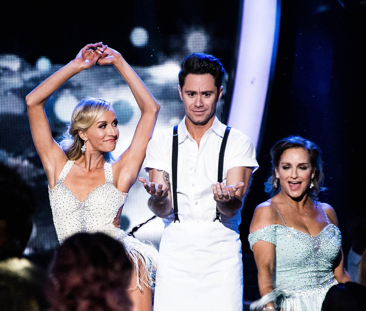 When you're placed between Olympic greats. @NastiaLiukin & @marylouretton's 10 Olympic medals will do that to you, @SashaFarber. 📸: @dancingabc   #DWTS