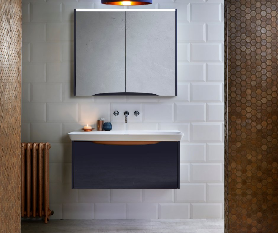 We LOVE the combo of indigo glass with gleaming copper accents on the washbasin unit, against chic tiles. Is your bathroom a talking point for the right ...