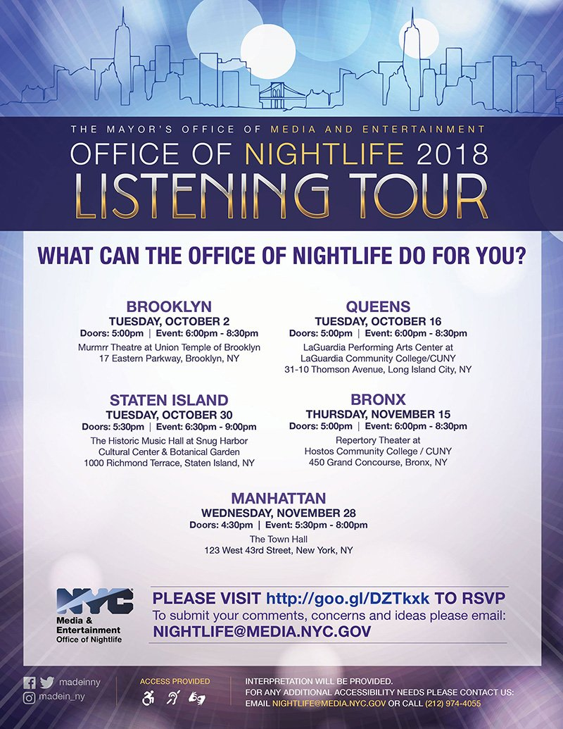 Tonight #inQueens: Don't miss the Office of Nightlife's listening tour! RSVP here: goo.gl/DZTkxk