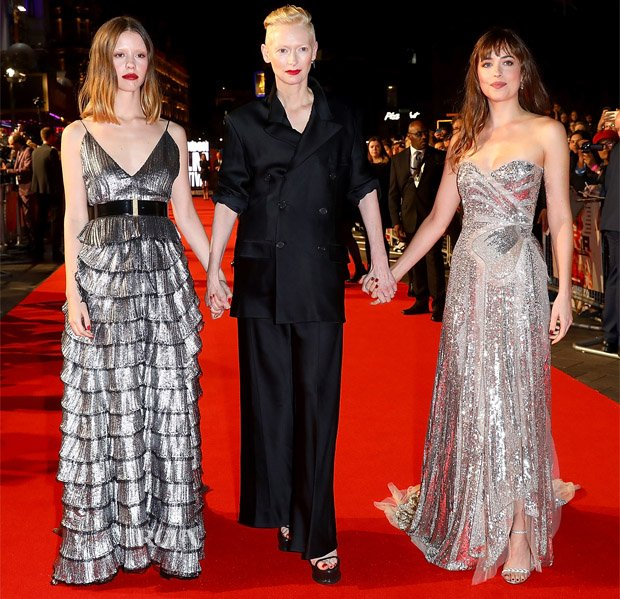 GIRL POWER: Mia Goth (in Givenchy), Tilda Swinton and Dakota Johnson (in Gucci) were creating a both a powerful and magic moment on the red carpet tonight for the 'Suspiria' UK premiere https://t.co/bQ4zR4uexl